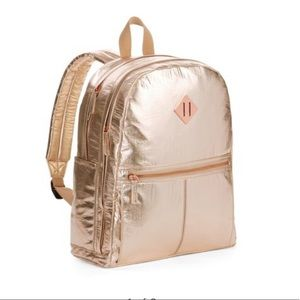 Handbags - Rose Gold Crinkle Dome back pack